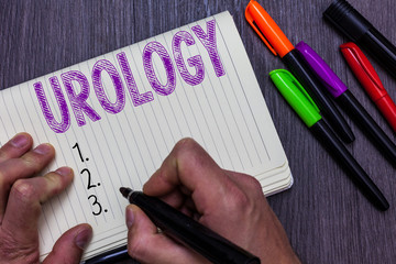 Text sign showing Urology. Conceptual photo Medicine branch related with urinary system function and disorders Man holding marker notebook paper communicating ideas Wooden background