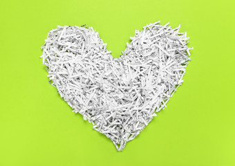 Heart made of recycled shredded paper