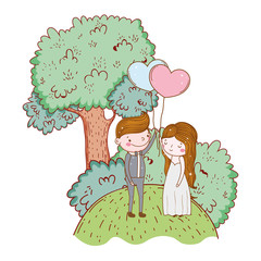man and woman with heart balloon and tree