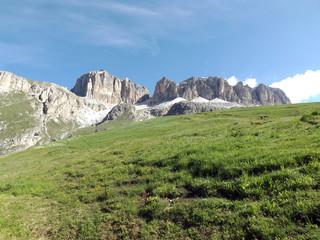 The Sass Pordoi or Sasso Pordoi is a relief of the Dolomites, in the Sella mountain group. Italy