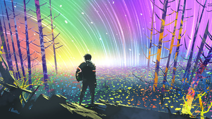 scenery of the explorer looking at flower fields in colorful planet, digital art style, illustration painting