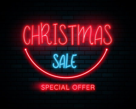 Merry Christmas and Happy New Year background. 3d neon light on the wall. Vector illustration.