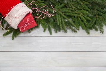 Christmas flat lay decor on wood
