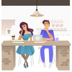 Vector illustration of bored people - young tired and exhausted man and woman sitting at cafe table with books and laptop in cartoon style. Uninterested male and female character.