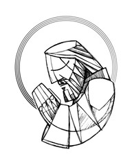Jesus Christ praying vector illustration