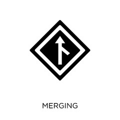 Merging sign icon. Merging sign symbol design from Traffic signs collection.