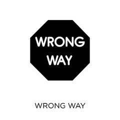 Wrong Way sign icon. Wrong Way sign symbol design from Traffic signs collection.