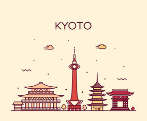 Fotomurales - Kyoto skyline, Japan vector linear style city