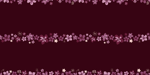 Sophisticated vector pink and burgundy floral seamless pattern background