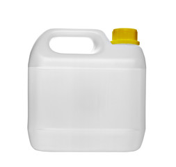 white gallon container with water or gasoline
