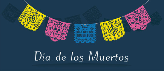 Dia de los muertos (day of the dead) Mexican  traditional bunting banner vector. Papel picado background.