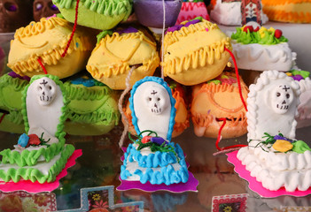 Mini Graves Made of Sugar for Day of the Dead in Mexico City Market