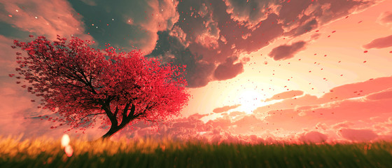 Garden of heaven,Background of sakura tree flower at sunrise or sunset sky,3d rendering