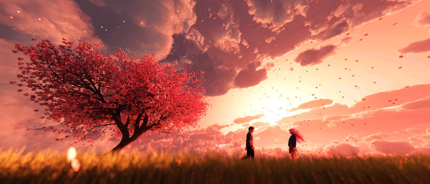 Garden of heaven,Couple in field with sakura tree flower at sunrise or sunset sky,3d rendering