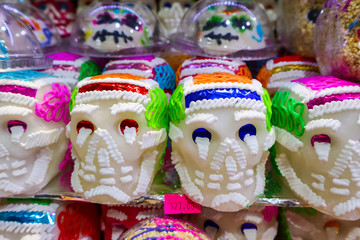 Sugar Skulls for Day of the Dead at Market in Mexico City