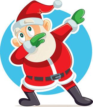 Funny Dabbing Santa Claus Vector Cartoon