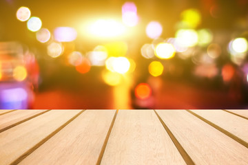 Wooden table and beautiful background montage