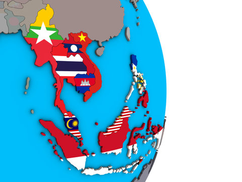 South East Asia with embedded national flags on simple political 3D globe.