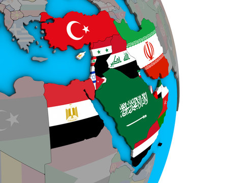 Middle East with embedded national flags on simple political 3D globe.