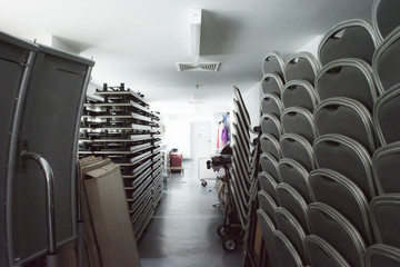 storage room with chair and table