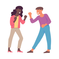 Vector illustration of quarrelling and shouting people clenching their fists in flat style isolated on white background - screaming angry male and female characters having conflict.