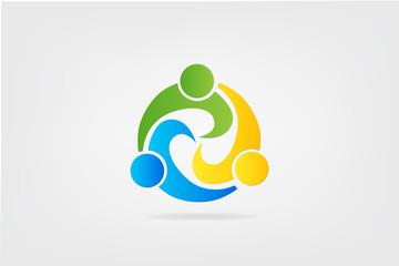 Logo teamwork partners colorful people