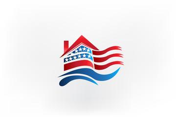 House USA flag waving identity business logo id card icon