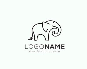 Stand elephant line art logo design inspiration