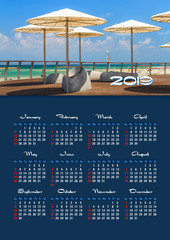 Wall calendar for 2019 year, single page with photo