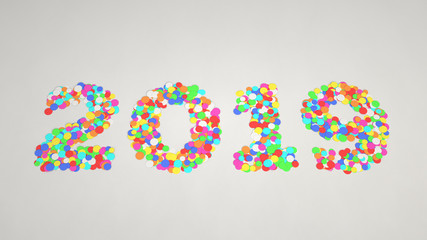 2019 number made from colorful confetti