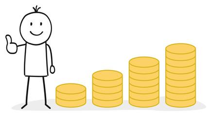 Münzen / Dividenden / Auszahlung / Wirtschaft / Wachstum / Gehalt / Erhöhung