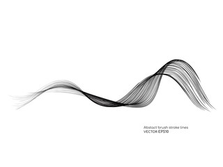 Vector brush stroke colorful curved wave lines isolated on white background for  design element
