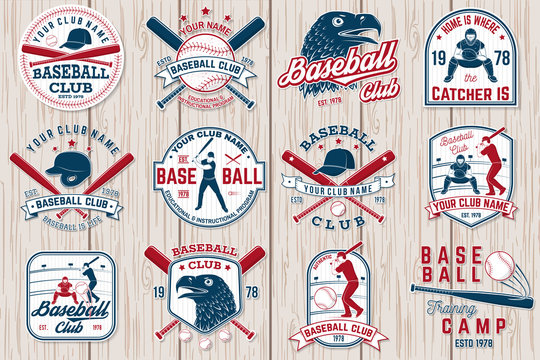 Set of baseball or softball club badge. Vector illustration. Concept for shirt or logo,