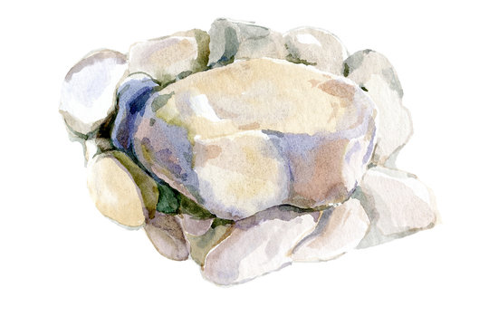 Watercolor hand-drawn. Big sea stone and small pebbles. Illustration isolated on white.