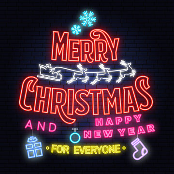 Merry Christmas and 2019 Happy New Year neon sign with angels, santa claus in sleigh with deer and christmas gifts.