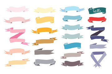 Various colored banners. Hand drawn big vector set. All elements are isolated