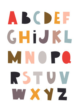Scandinavian style colorful alphabet. Hand drawn vector illustration. Every letter is isolated