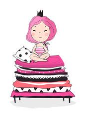 Cute little princess. Pink vector illustration