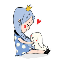 Cute little princess with rabbit. Colored vector illustration