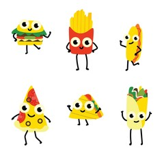 Vector illustration set of fast food cartoon characters in flat style isolated on white background - various cute smiling emoticons of full meals with vegetables and meat.