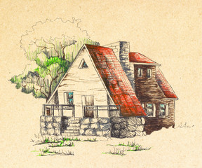 House with a red roof, painted by hand. Painted with black pen and watercolor