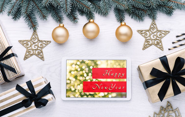 Beautiful celebratory Christmas background. New Year's holidays. Christmas holidays. Beautiful Christmas decorations on the wooden background. Loft style. Mockup
