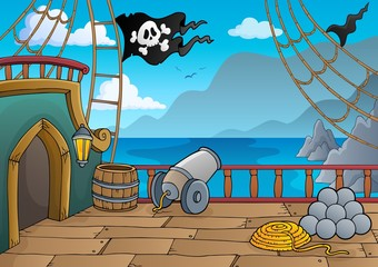 Photo on textile frame For Kids Pirate ship deck topic 4