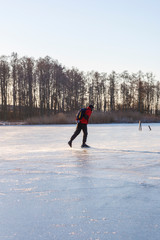Tour skating on a lake