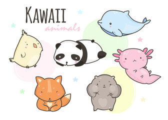 Kawaii animals. Colored vector set. All elements are isolated