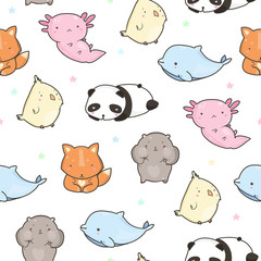 Cute funny animals. Colored vector seamless pattern
