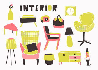 Seventies style interior. Hand drawn vector set. All elements are isolated