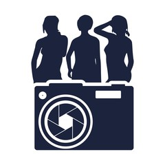 Illustration of photo camera icon with lens aperture and women silhouettes