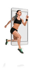 Portrait of speed athletic woman running on white background, concept virtual reality of the smartphone. going out of the device