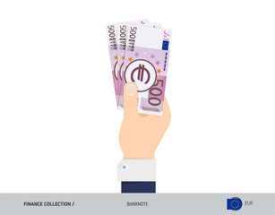 500 Euro Banknote. Hand gives money. Flat style vector illustration. Salary payout or corruption concept.